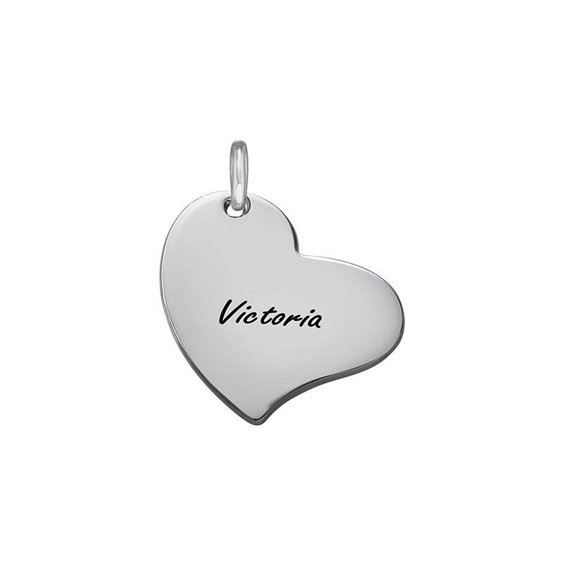 Engraved Heart Charm - Silver