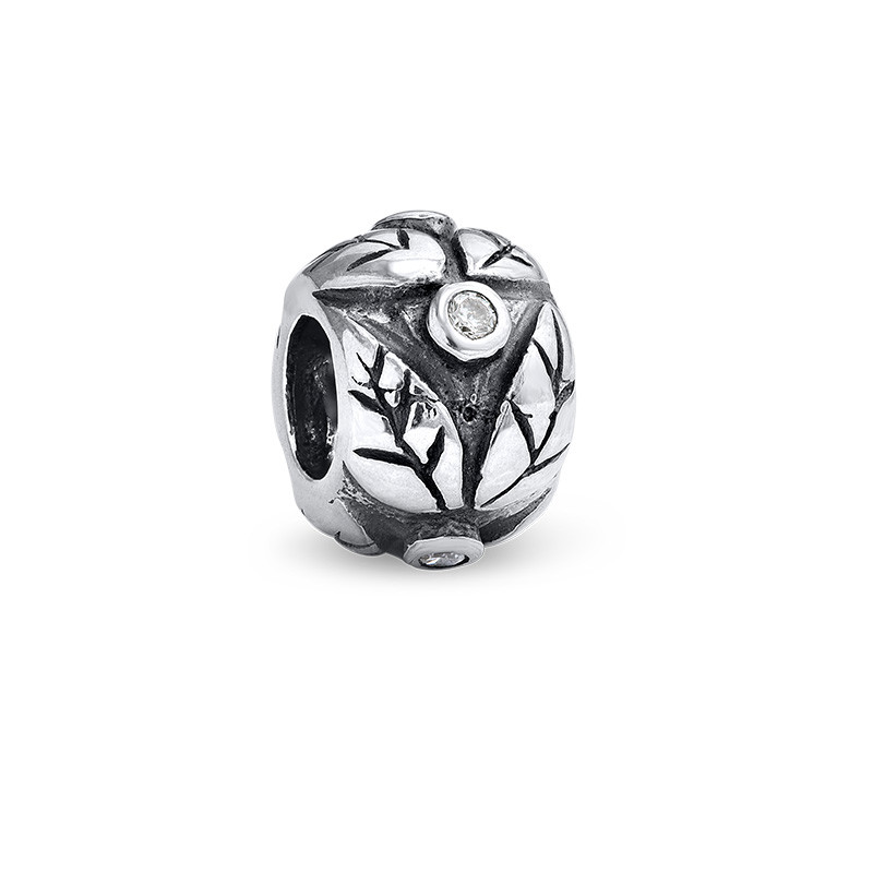 Leaves Silver Bead with Cubic Zirconia