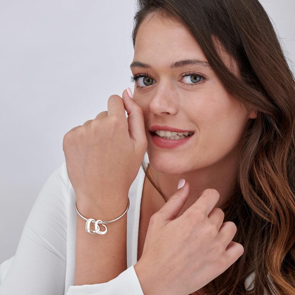 Diamond Heart Charm for Bangle Bracelet in Sterling Silver - 1
