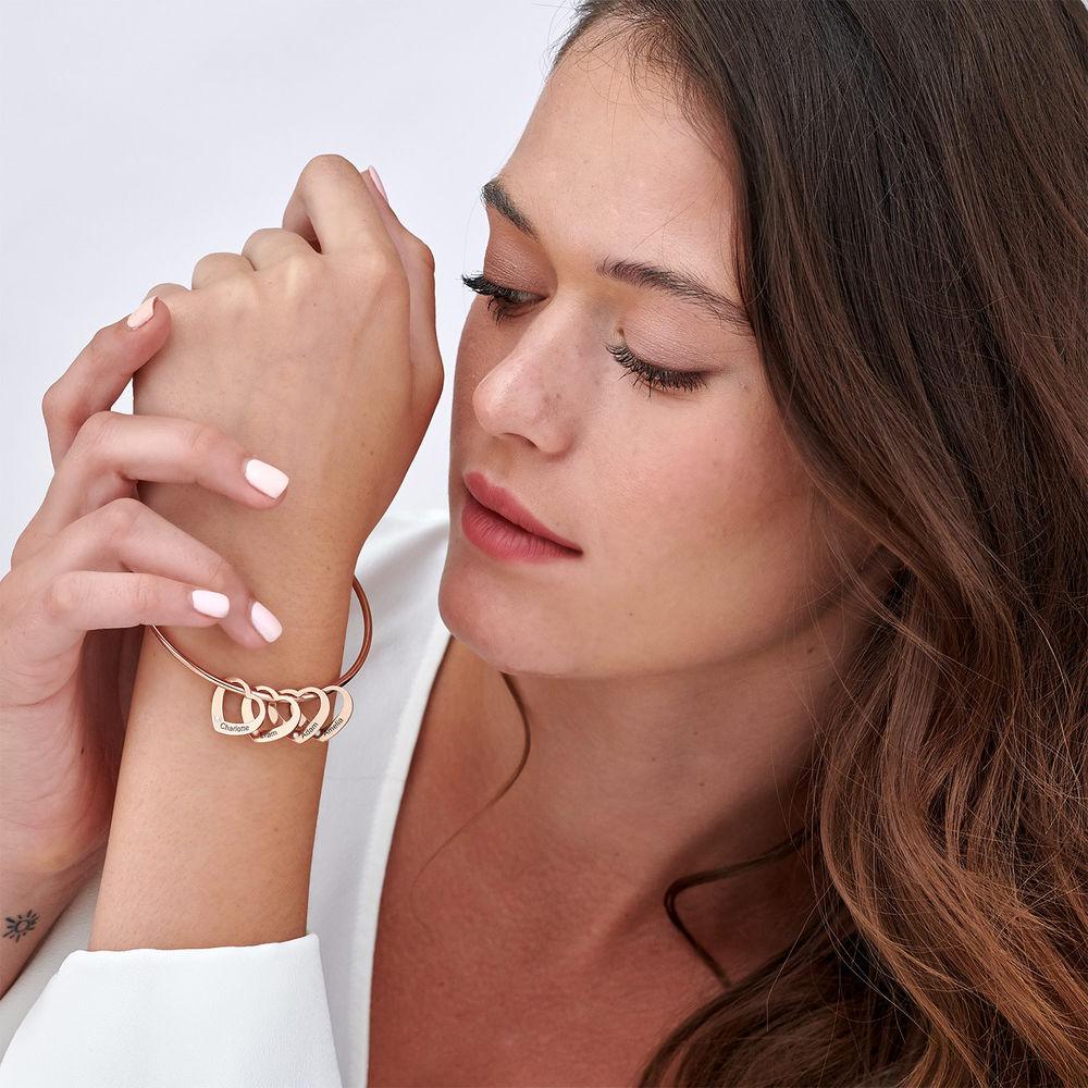 Diamond Heart Charm for Bangle Bracelet in Rose Gold Plating - 1