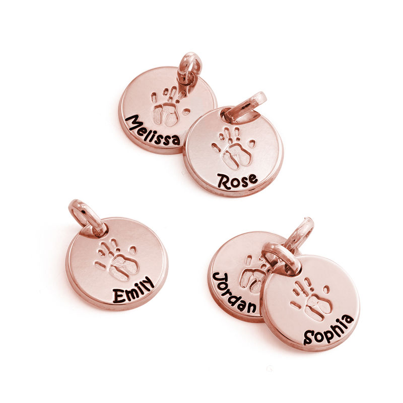 Baby Hand Engraved Charm in Rose Gold Plating - 1