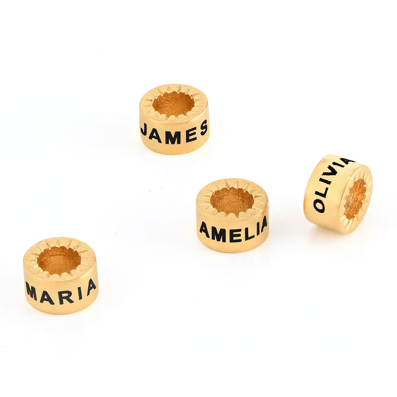 Custom Engraved Beads in 18K Gold Vermeil for Linda Necklace
