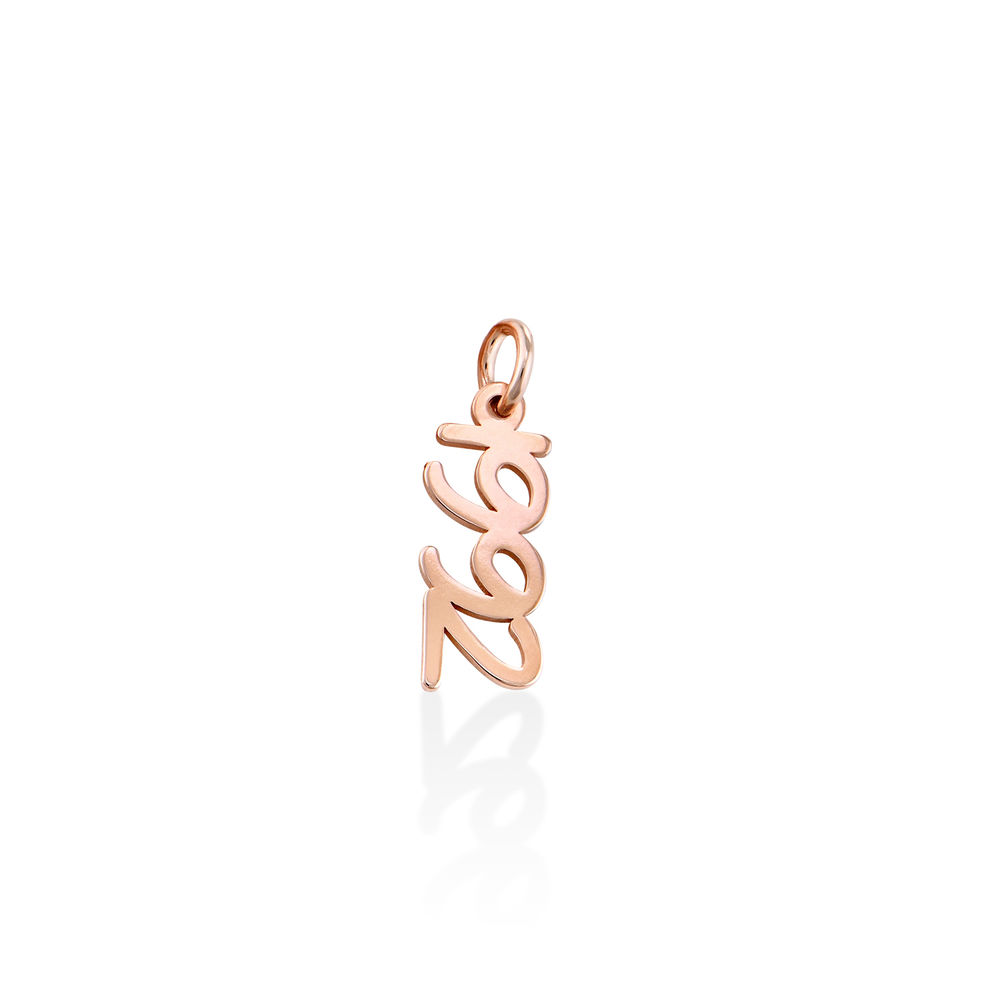 Vertical Name Pendant in Cursive in Rose Gold Plated - 1