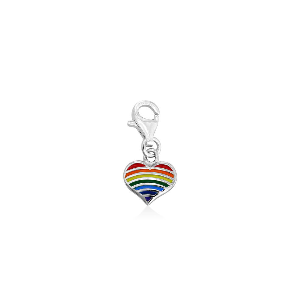 Rainbow Heart Charm in Sterling Silver