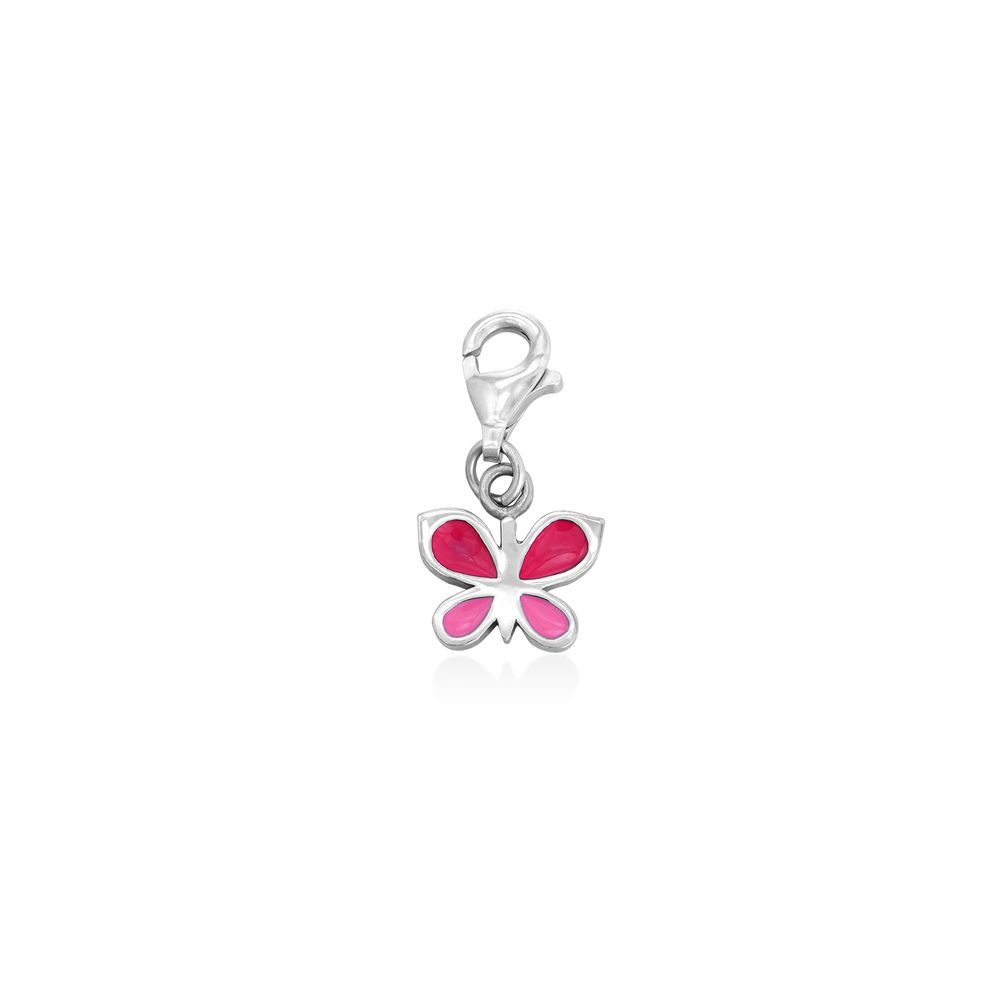Pink Butterfly Charm in Sterling Silver