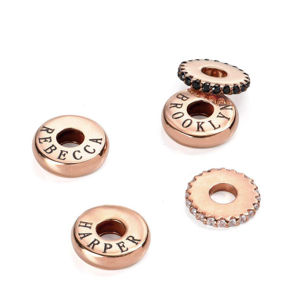 Custom Engraved Beads in 18K Rose Gold Plating for Candy Necklace