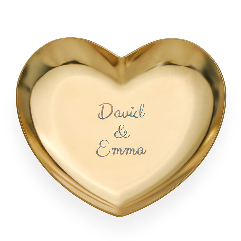 Personalized Heart Jewelry Tray in Gold Color