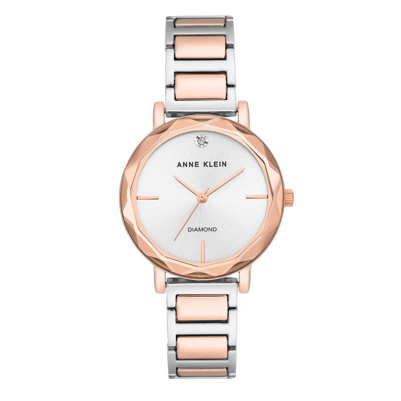 Women's Diamond-Accented Silver-Tone and Rose Gold-Tone Bracelet Watch