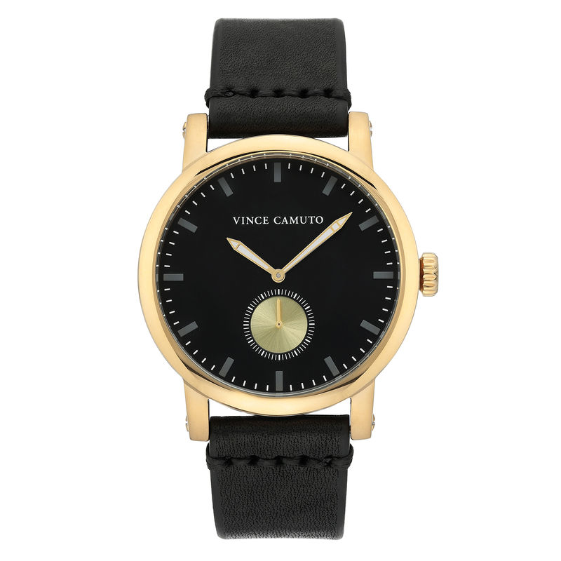 Vince Camuto Men's Gold-Tone and Black Leather Strap Watch