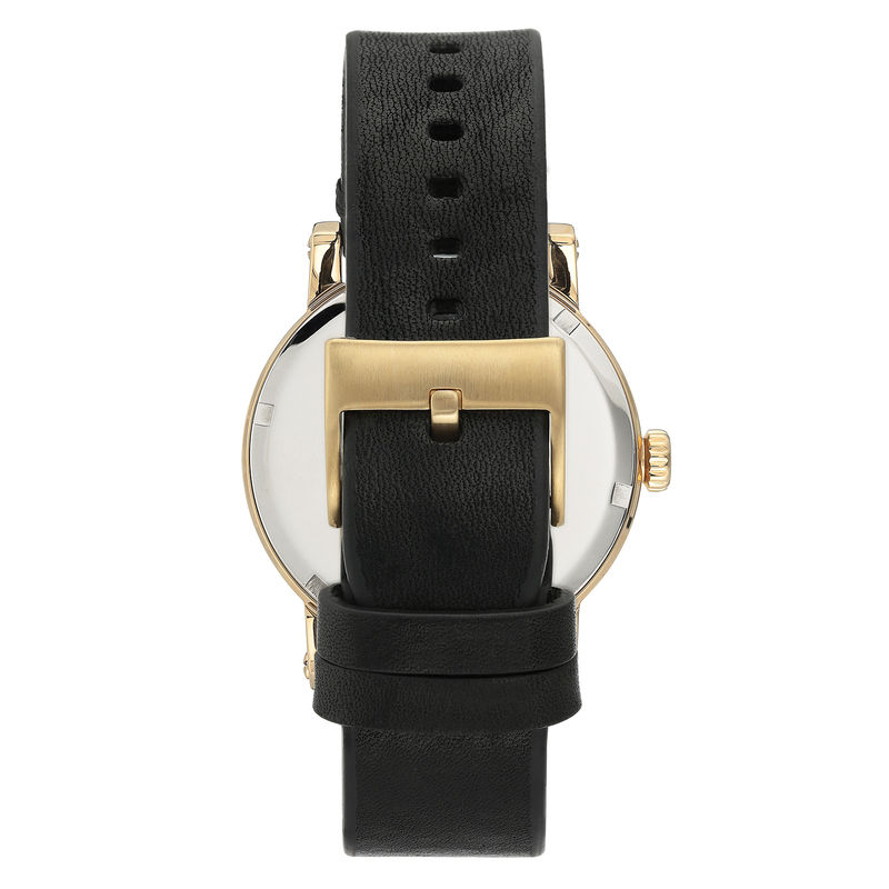 Vince Camuto Men's Gold-Tone and Black Leather Strap Watch - 1