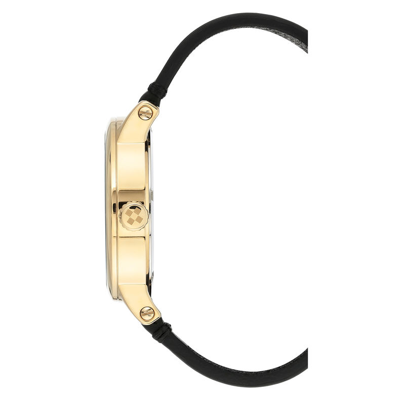 Vince Camuto Men's Gold-Tone and Black Leather Strap Watch - 2