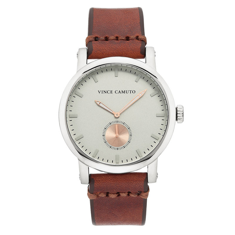 Vince Camuto Men's Silver-Tone and Brown Leather Strap Watch