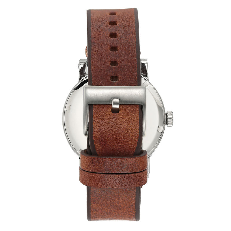 Vince Camuto Men's Silver-Tone and Brown Leather Strap Watch - 1