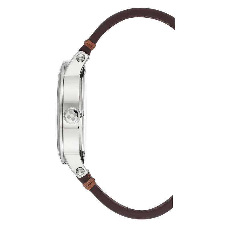 Vince Camuto Men's Silver-Tone and Brown Leather Strap Watch - 2