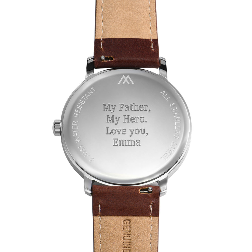 Hampton Minimalist Brown Leather Band Watch for Men with White Dial - 3