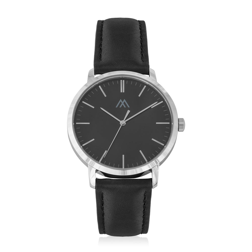 Hampton Minimalist Black Leather Band Watch for Men with Black Dial
