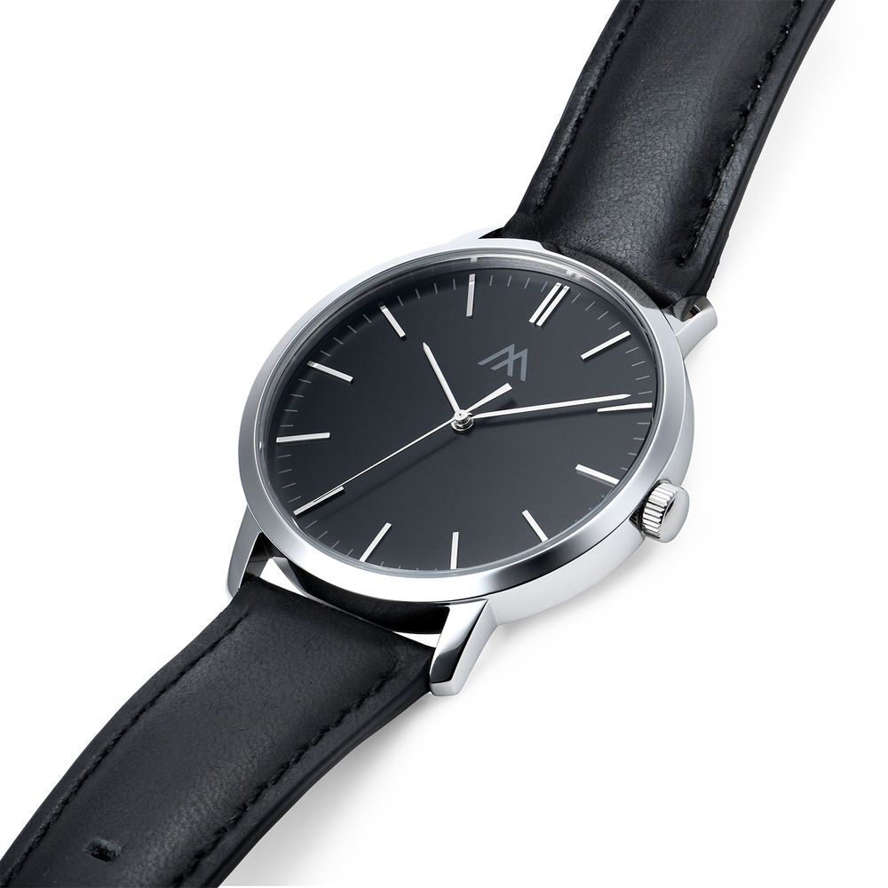 Hampton Minimalist Black Leather Band Watch for Men with Black Dial - 1