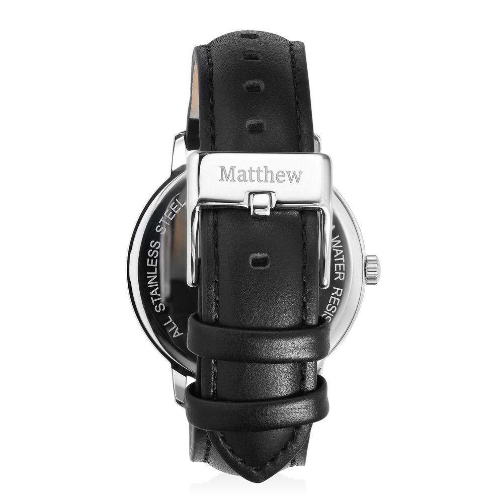 Hampton Minimalist Black Leather Band Watch for Men with Black Dial - 2
