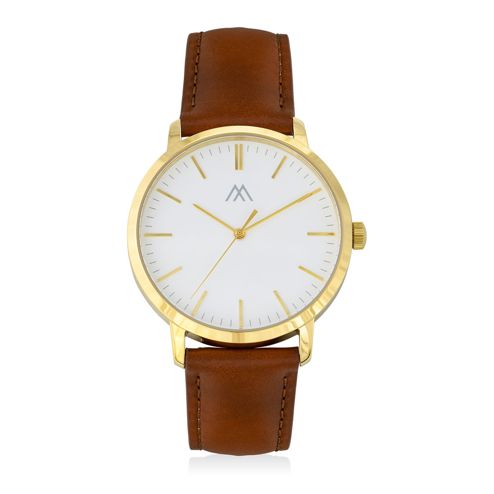 Hampton Engraved Minimalist Watch for Men with Brown Leather Strap