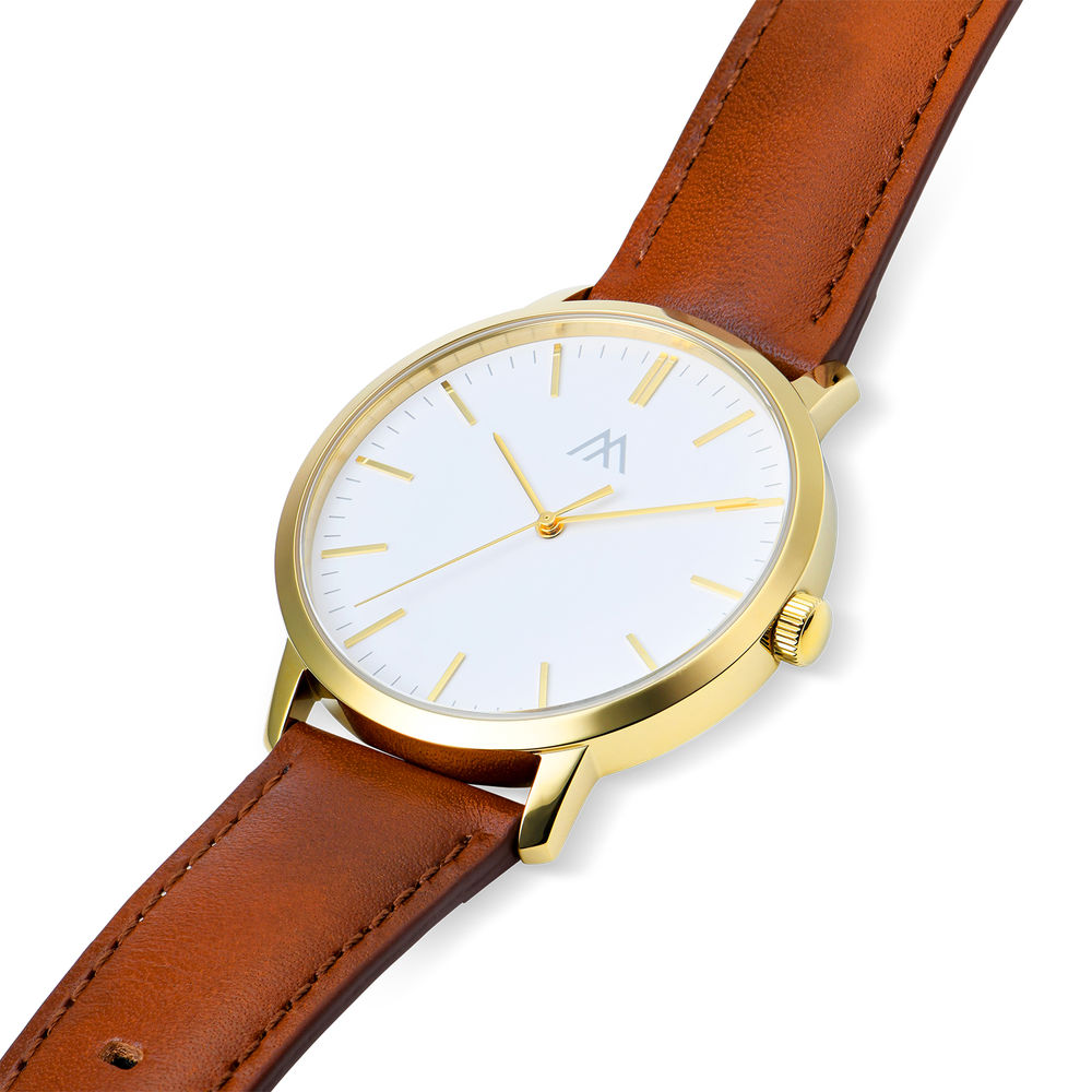 Hampton Engraved Minimalist Watch for Men with Brown Leather Strap - 1