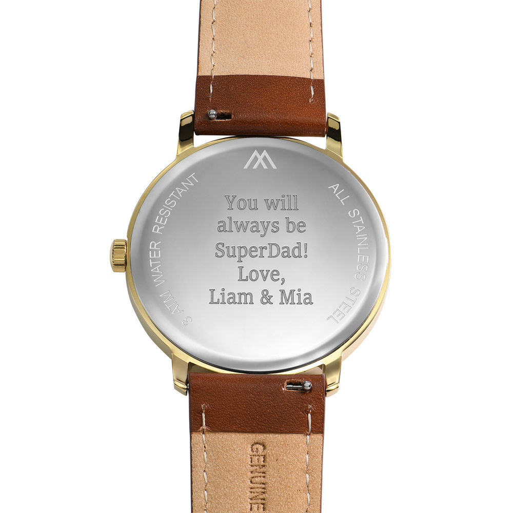 Hampton Engraved Minimalist Watch for Men with Brown Leather Strap - 3