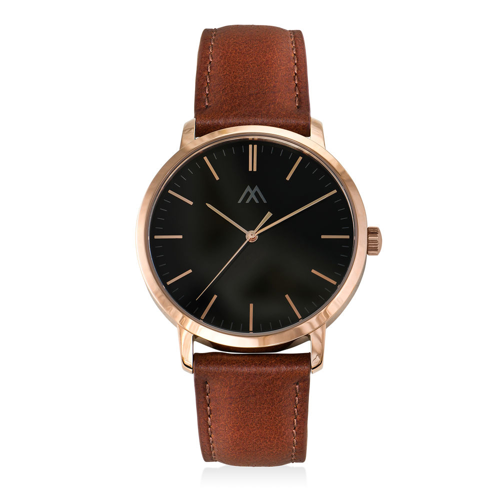 Hampton Personalized Minimalist Brown Leather Band Watch for Men