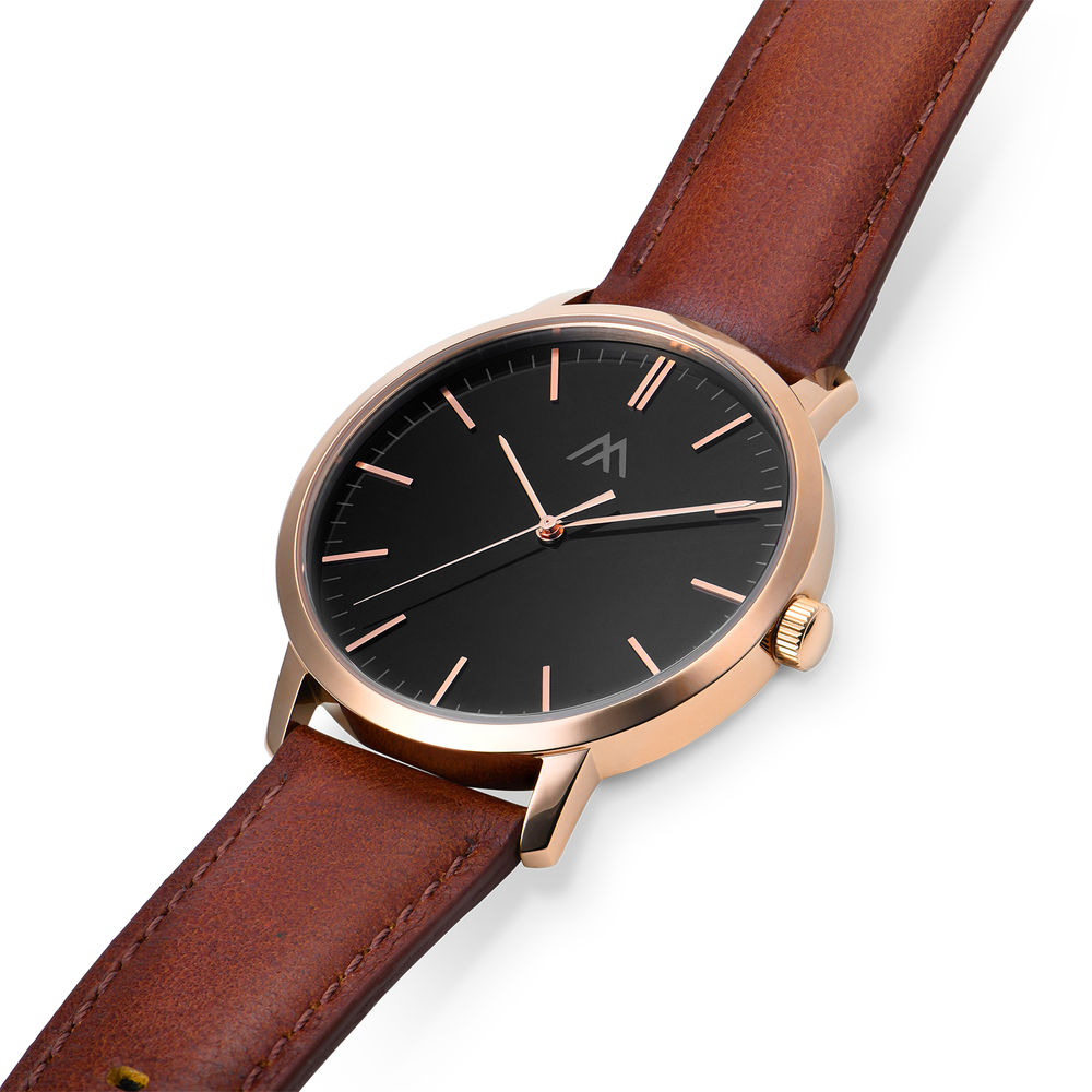 Hampton Personalized Minimalist Brown Leather Band Watch for Men - 1