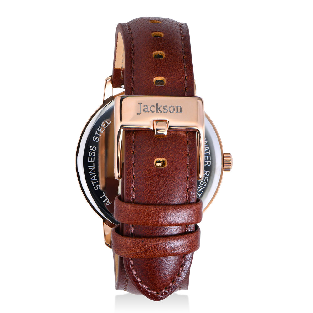 Hampton Personalized Minimalist Brown Leather Band Watch for Men - 2
