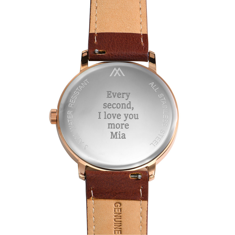 Hampton Personalized Minimalist Brown Leather Band Watch for Men - 3