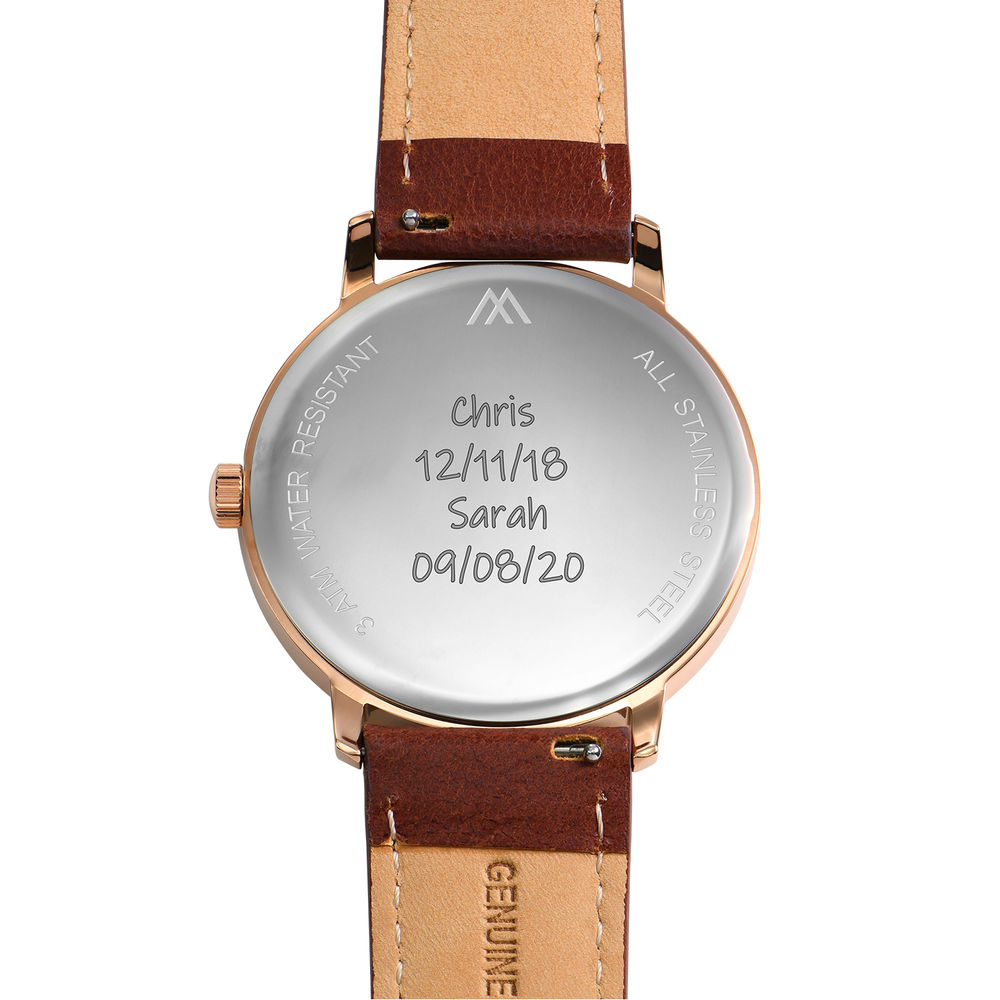 Hampton Personalized Minimalist Brown Leather Band Watch for Men - 4