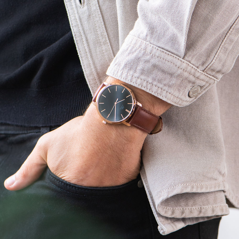 Hampton Personalized Minimalist Brown Leather Band Watch for Men - 7