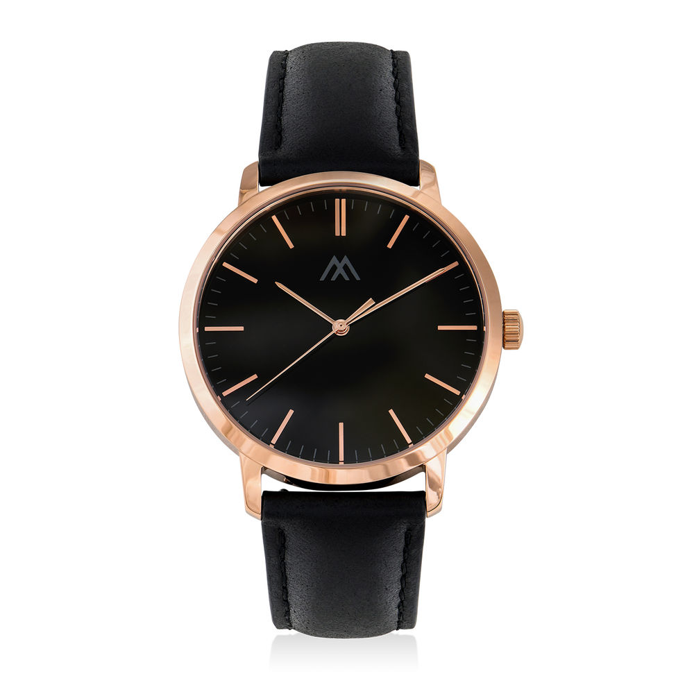 Hampton Personalized Minimalist Black Leather Band Watch for Men