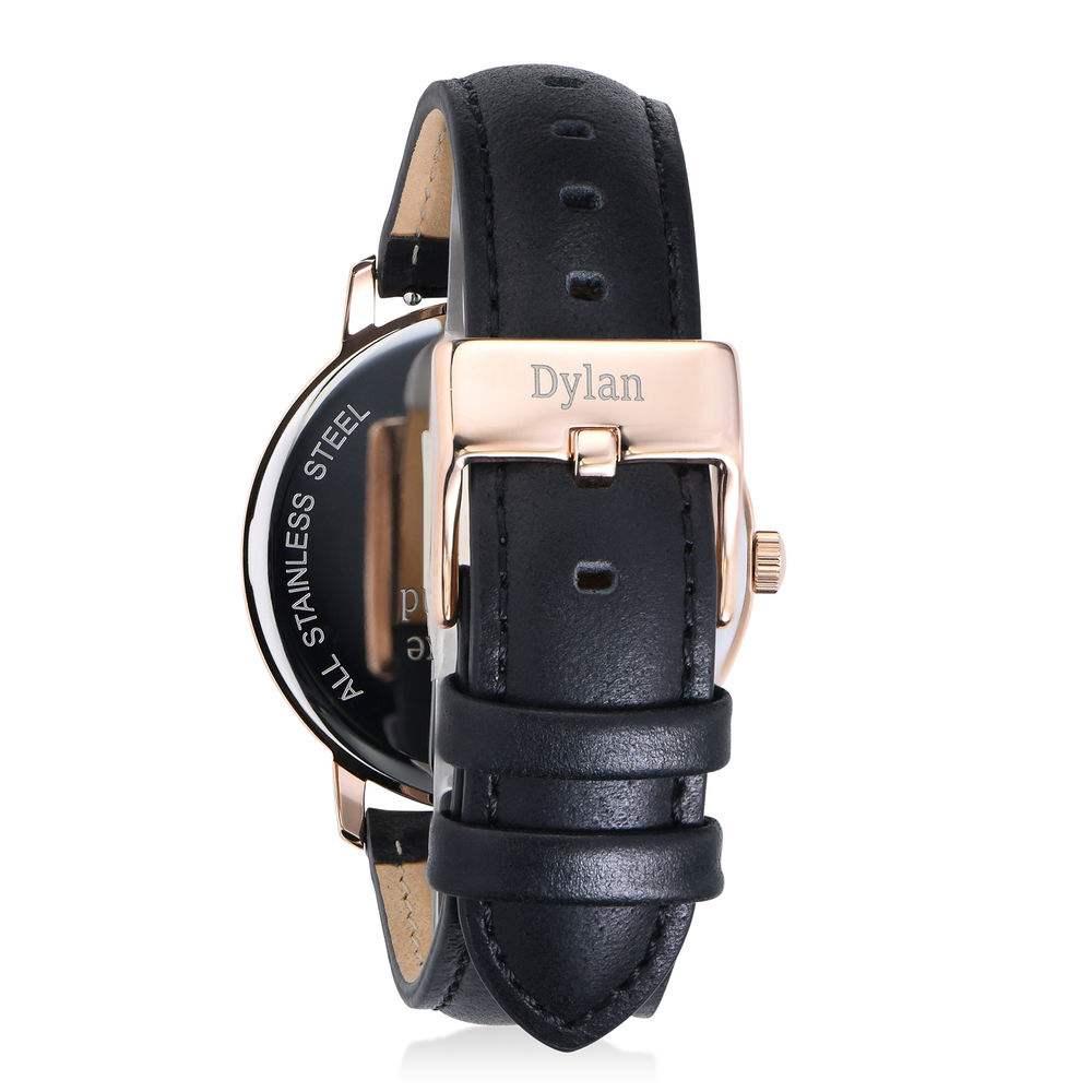 Hampton Personalized Minimalist Black Leather Band Watch for Men - 2