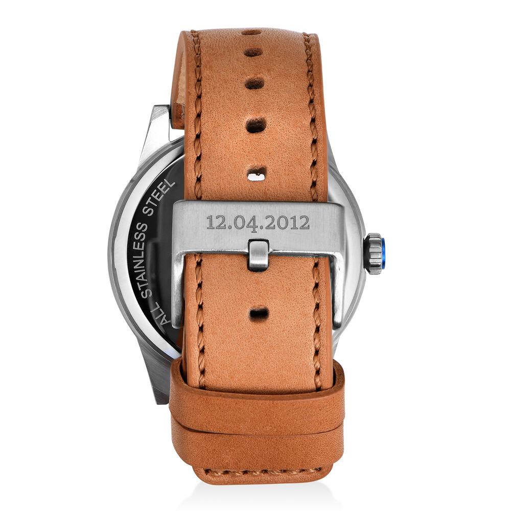 Odysseus Day Date Minimalist Camel Leather Band Watch - 2