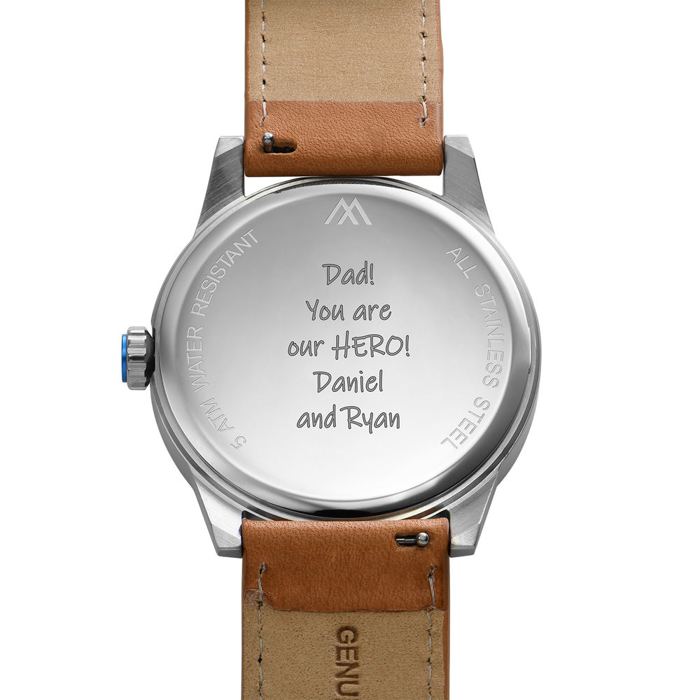 Odysseus Day Date Minimalist Camel Leather Band Watch - 4