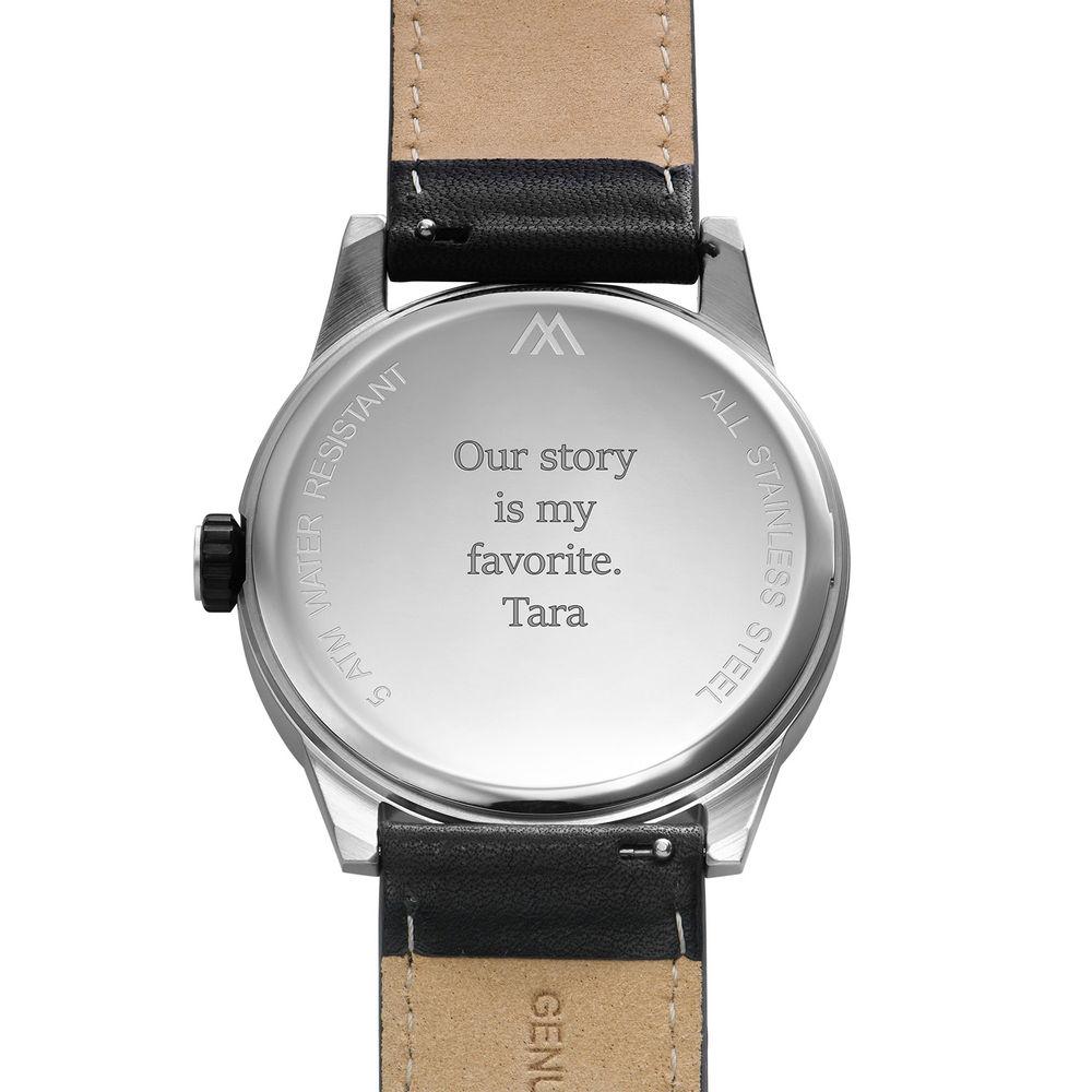 Odysseus Day Date Minimalist Leather Strap Watch - 3