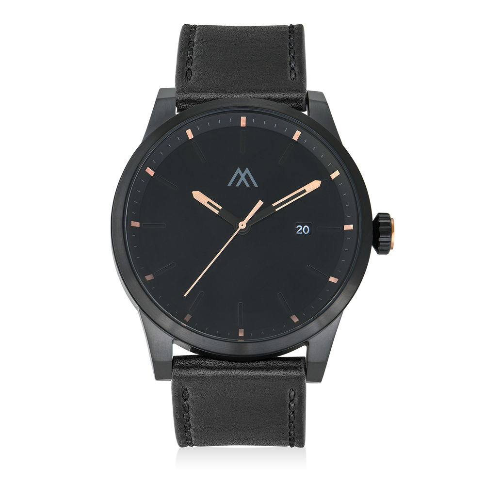Odysseus Day Date Minimalist Leather Strap Watch in Black