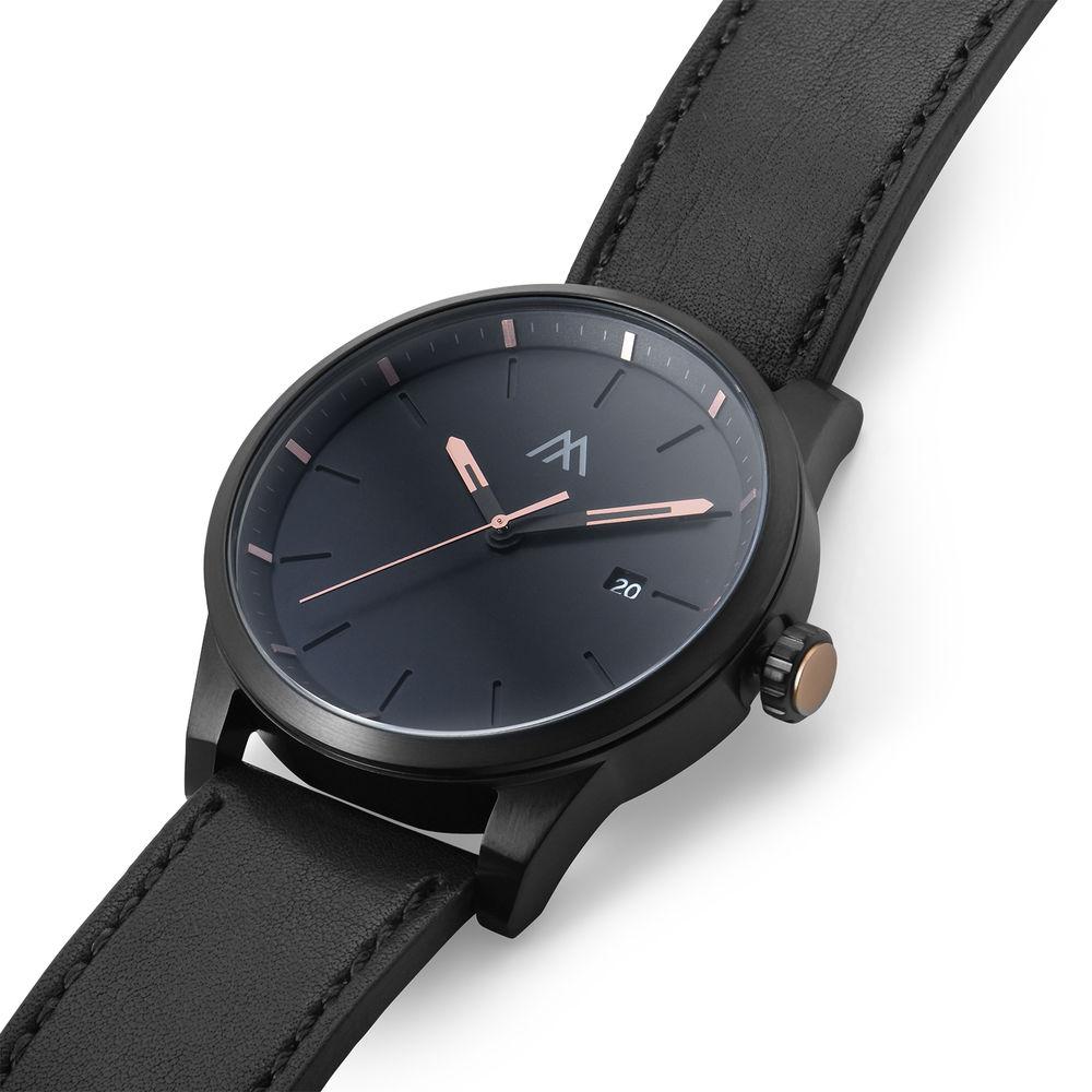 Odysseus Day Date Minimalist Leather Strap Watch in Black - 1