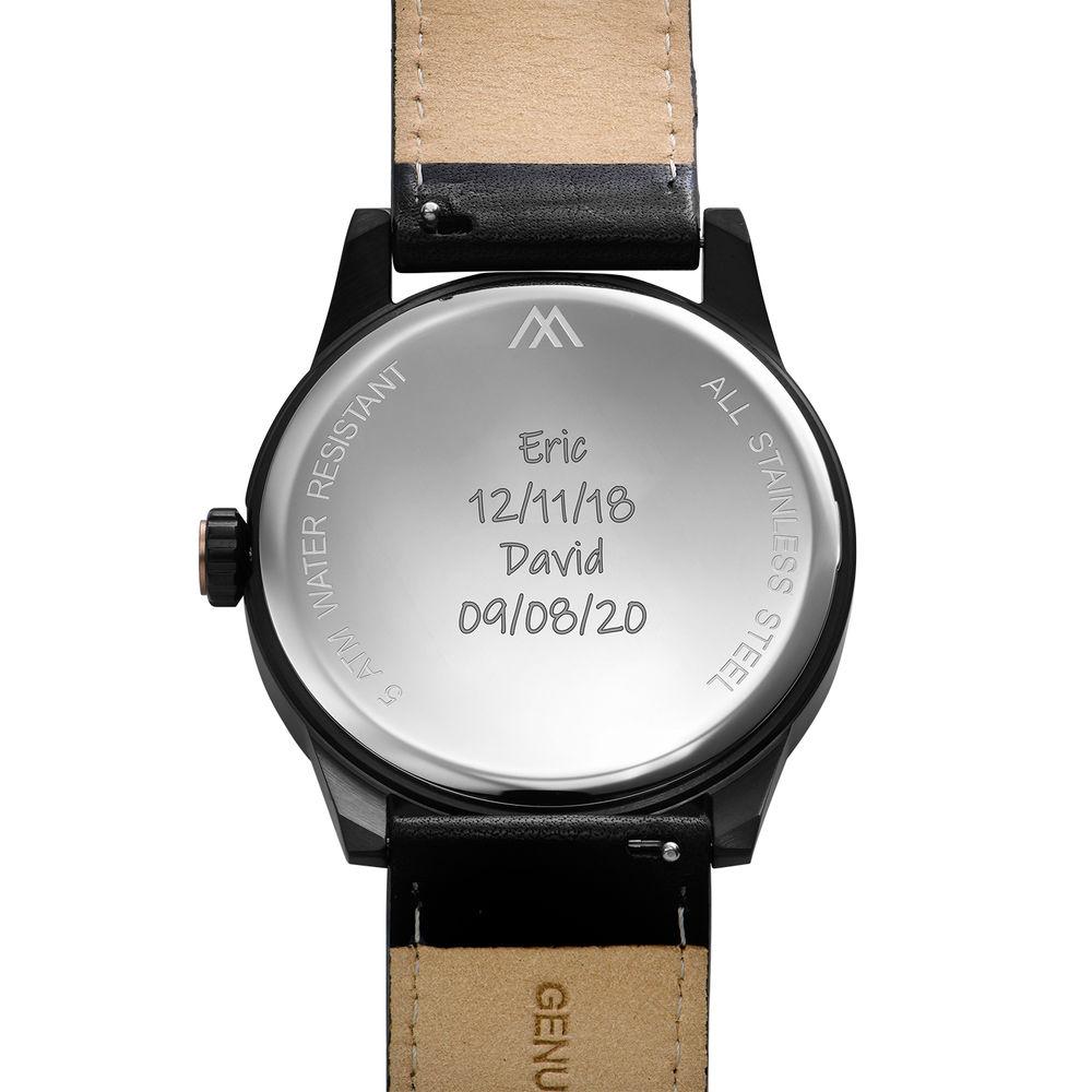 Odysseus Day Date Minimalist Leather Strap Watch in Black - 4