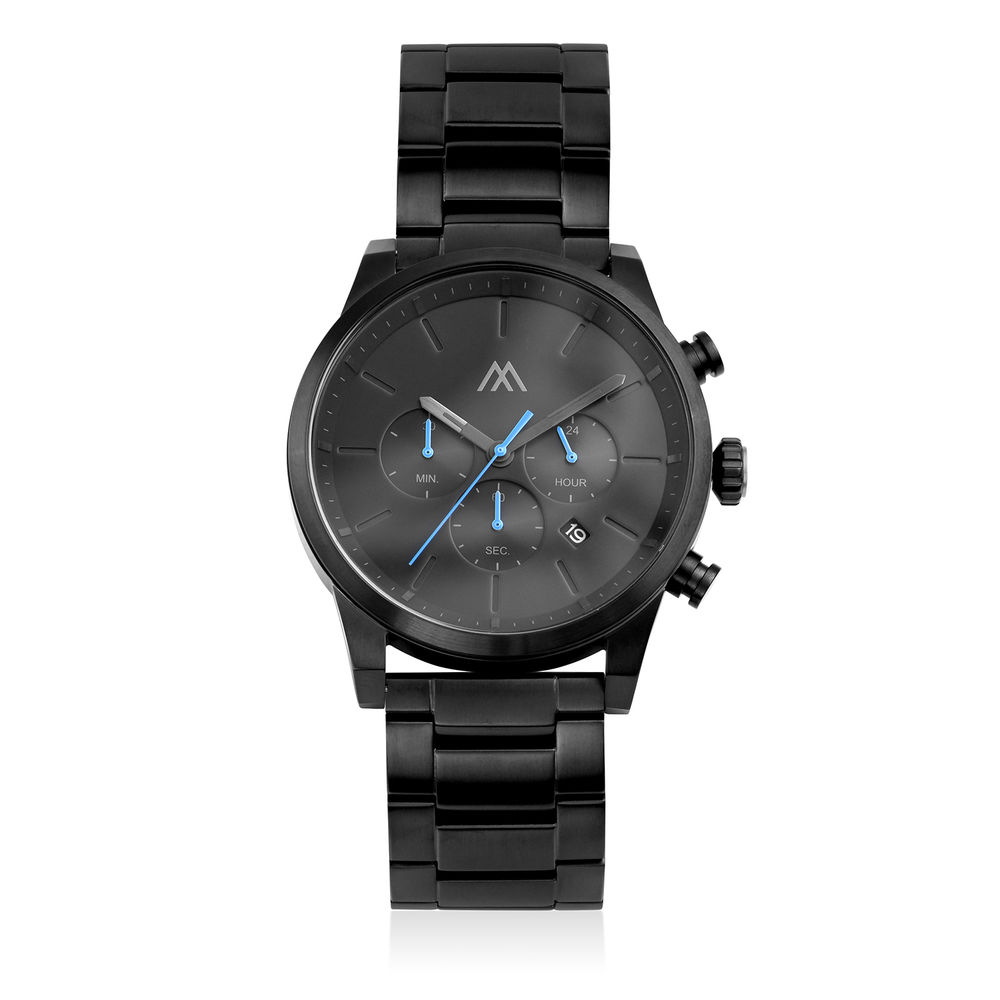 Quest Chronograph Black Stainless Steel Watch for Men