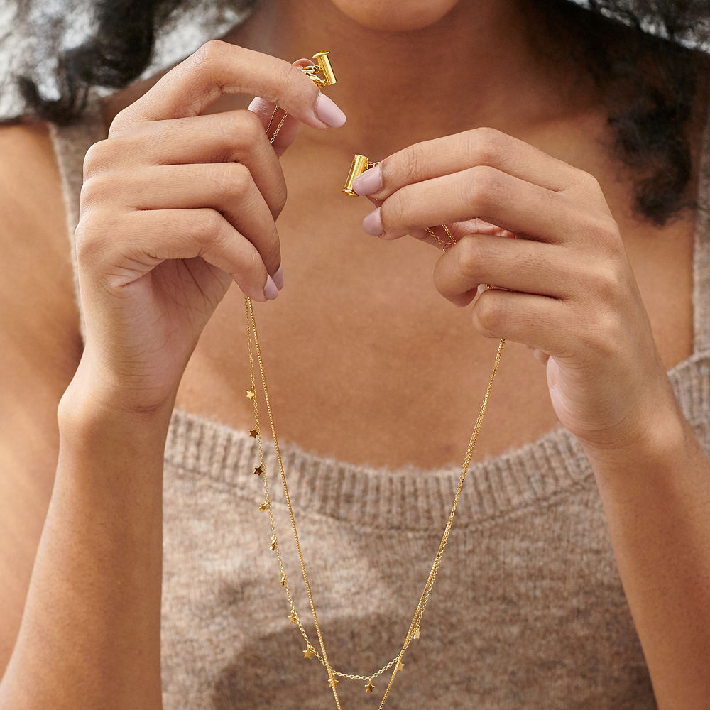 Layered Necklace Separator in Gold Plated- 2 Chains - 3
