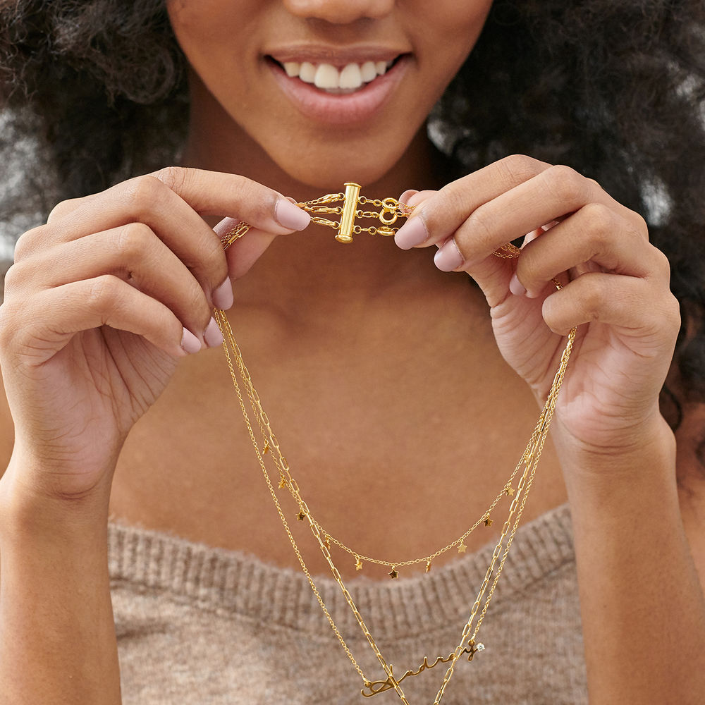 Layered Necklace Separator  in Gold Plated- 3 Chains - 3