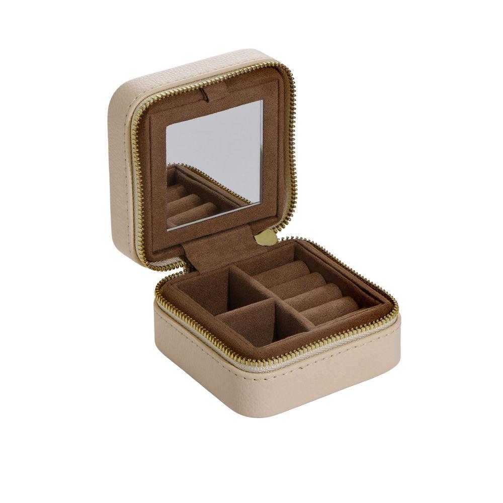 Dainty Jewelry Box in PU beige leather