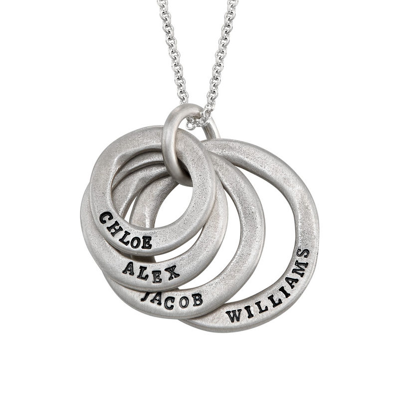Stamped Family Disc Sterling Silver Necklace