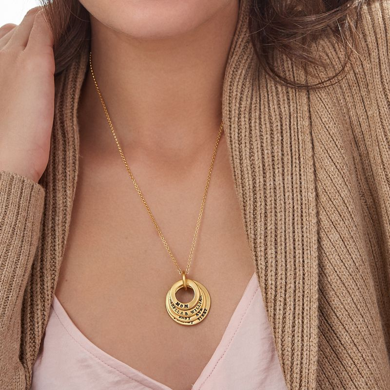 Stamped Family Disc Gold Plated Necklace - 3