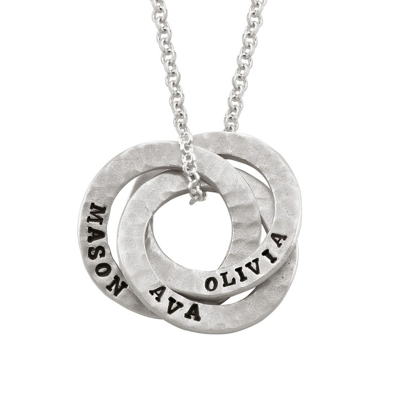 Stamped Russian Ring Sterling Silver Necklace