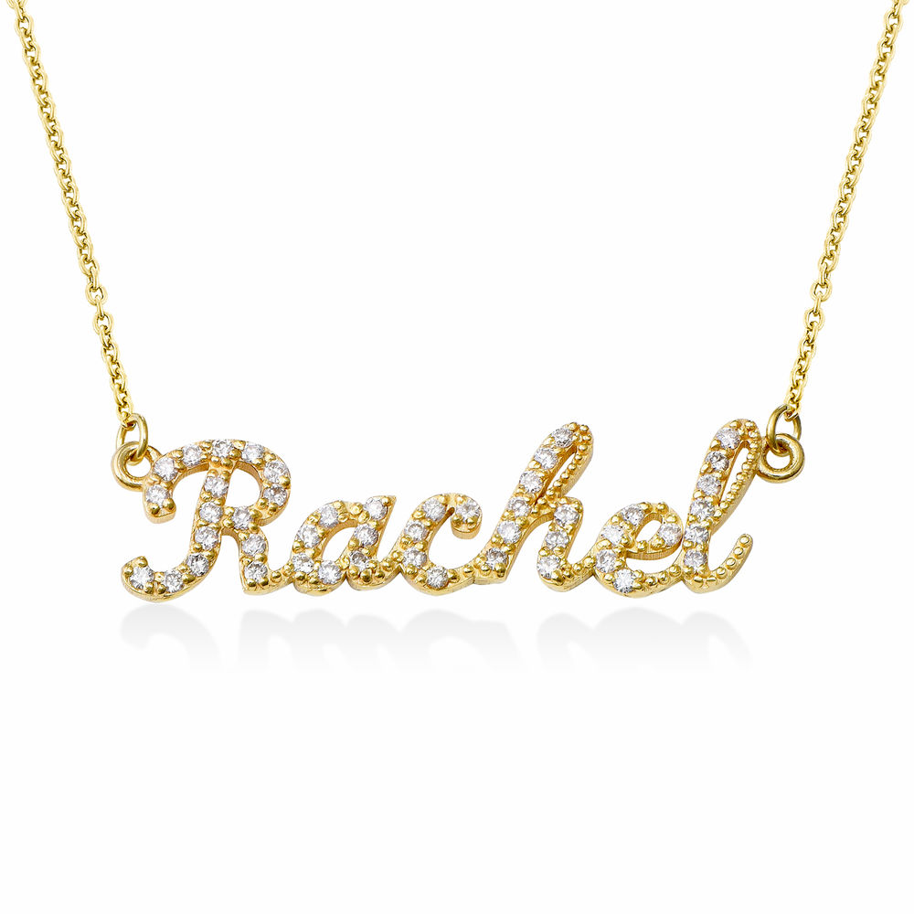 Pave Name Necklace with Cubic Zirconia - 14k gold