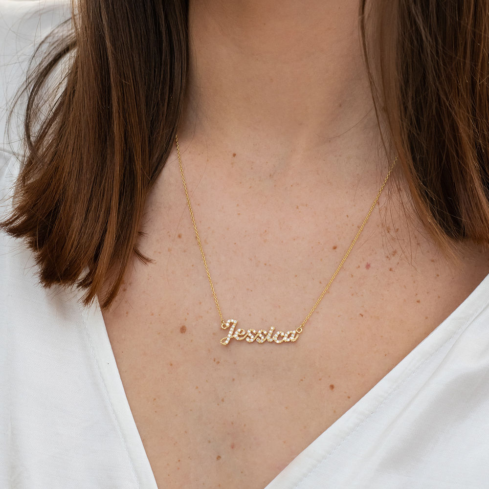 Pave Name Necklace with Cubic Zirconia - 14k gold - 1