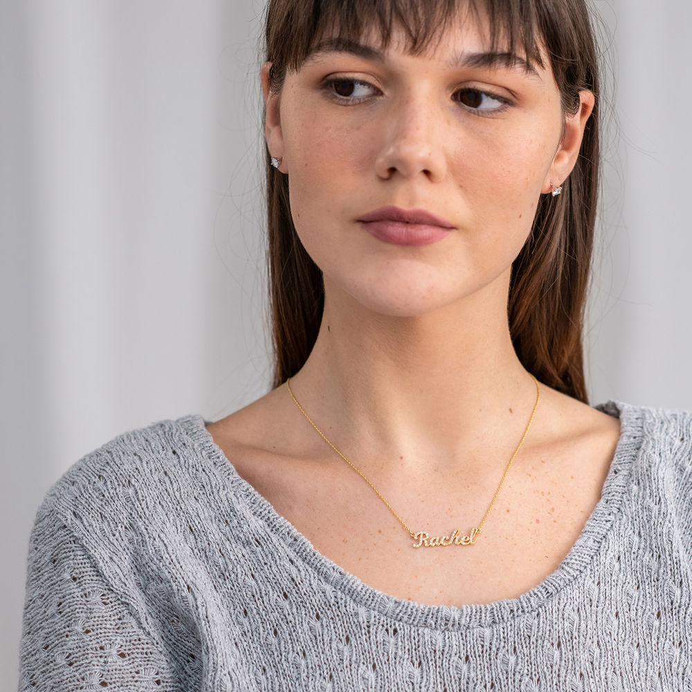 Pave Name Necklace with Cubic Zirconia - 14k gold - 3