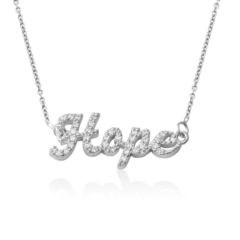 Pave Name Necklace with Cubic Zirconia  - sterling silver